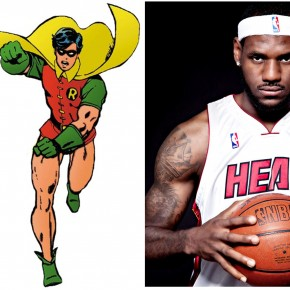 Batman, Robin, D-Wade and LeBron
