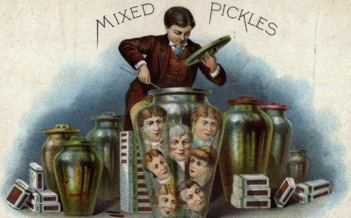 Mixed Pickles   VF 6    Vintage Cigar Box Advertising Label    #6445