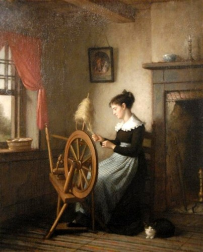 Platt Powell Ryder (1821 – 1896) Woman at Spinning Wheel