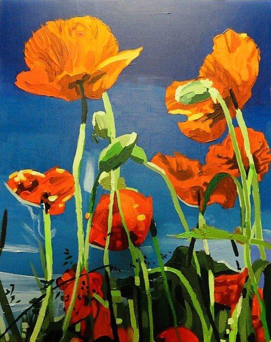 "John Davis, ""Poppies"", 14"" x 17"", acrylic on canvas board, 2011."