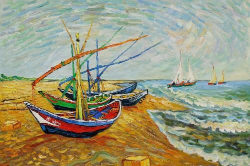 Fishing-Boats-on-the-Beach-at-Saintes-Maries-by-Vincent-Van-Gogh-OSA406