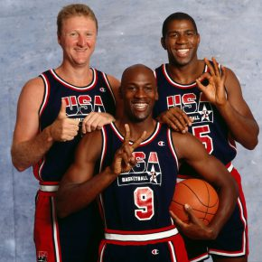 Portrait of Team USA players Larry Bird, Michael Jordan, and Magic Johnson during a photo shoot.  San Diego, California 6/23/1992 (Image # 1065 )