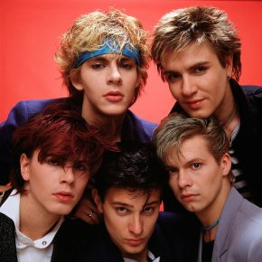 Group Portrait of British band Duran Duran in London, England in 1981. Left to right are (back) keyboard player Nick Rhodes, singer Simon Le Bon, (front) bassist John Taylor, drummer Roger Taylor and  guitarist Andy Taylor. (Photo by Michael Putland/Getty Images)