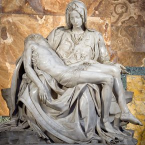 Italy, Lazio, Rome, Vatican City The 1499 Renaissance Pieta by Michelangelo in St Peters Basilica depicting the body of Jesus in the arms of his mother Mary after the crucifixion.(Photo by: Eye Ubiquitous/UIG via Getty Images)