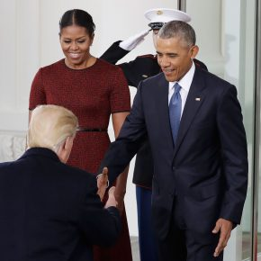 President Barack Obama, accompanied by first lady Michelle Obama, greets President-elect Donald Trump at the White House in Washington, Friday, Jan. 20, 2017.  (AP Photo/Evan Vucci)